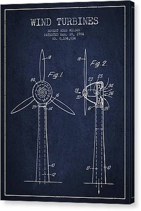 Wind Turbines Patent From 1984 - Navy Blue Canvas Print by Aged Pixel