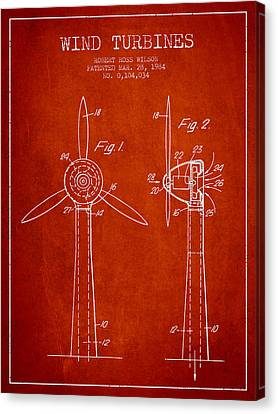 Wind Turbines Patent From 1984 - Red Canvas Print by Aged Pixel
