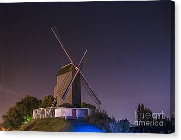 Windmill At Night Canvas Print by Juli Scalzi