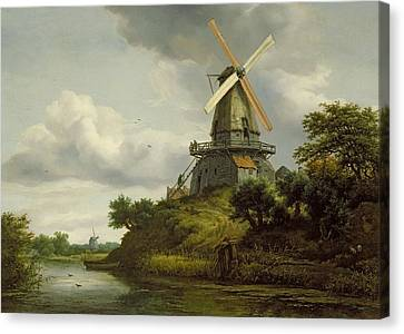 Windmill By A River Canvas Print by Jacob Isaaksz or Isaacksz van Ruisdael