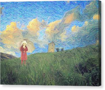 Windmill Girl Canvas Print by Taylan Soyturk