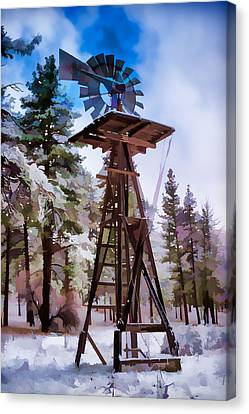 Windmill In The Snow Impressionistic Canvas Print by Scott Campbell