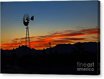 Windmill Silhouette Canvas Print by Robert Bales