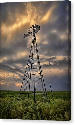 Windmill Storm Canvas Print by Thomas Zimmerman