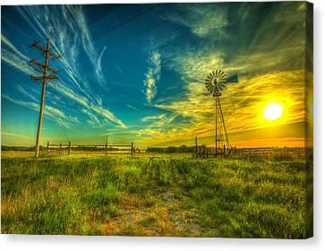 Windmill Sunset Canvas Print by  Caleb McGinn