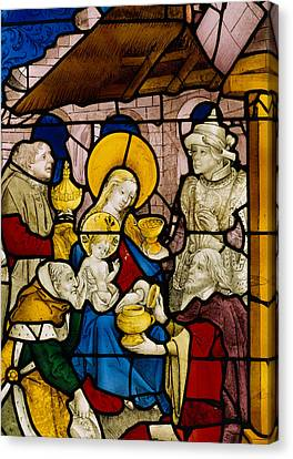 Window Depicting The Adoration Of The Kings Canvas Print by Flemish School
