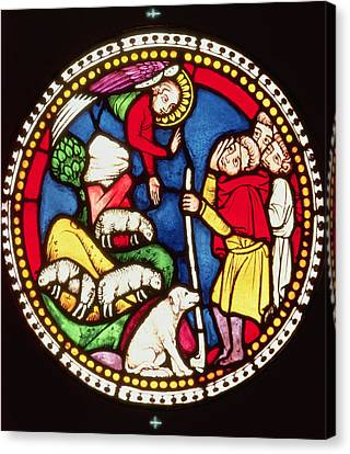 Window Depicting The Annunciation To The Shepherds, C.1300 Stained Glass Canvas Print by German School