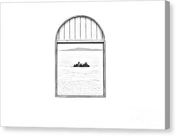 Window View Of Desert Island Puerto Rico Prints Black And White Line Art Canvas Print by Shawn O'Brien