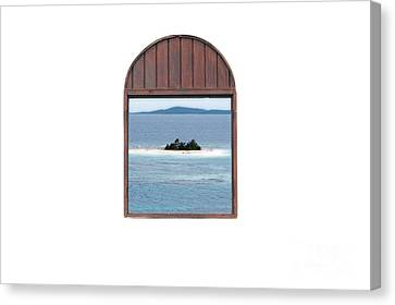 Window View Of Desert Island Puerto Rico Prints Diffuse Glow Canvas Print by Shawn O'Brien