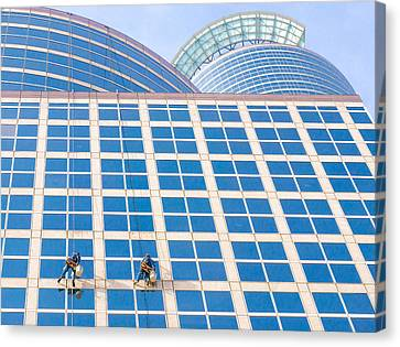 Window Washers Canvas Print by Jim Hughes