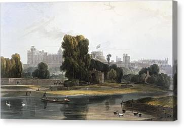 Windsor Castle From The River Thames Canvas Print by William Daniell