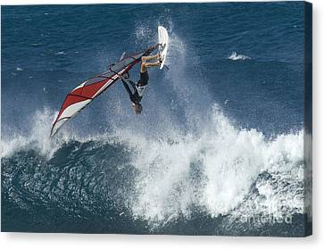 Windsurfer Hanging In Canvas Print by Bob Christopher