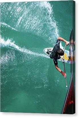 Windsurfing Canvas Print by Chris Knapton