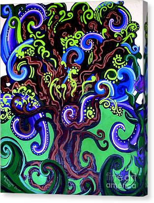 Windy Blue Green Tree Canvas Print by Genevieve Esson