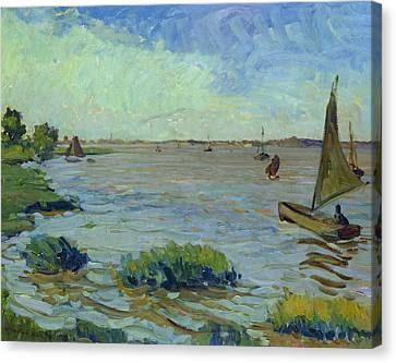 Windy Day On The Elbe Canvas Print by Richard Dreher