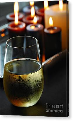 Wine And Candles Canvas Print by HD Connelly