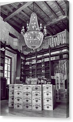 Wine And Chandeliers Black And White Canvas Print by Georgia Fowler
