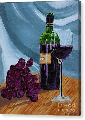 Wine And Grapes Canvas Print by Vicki Maheu