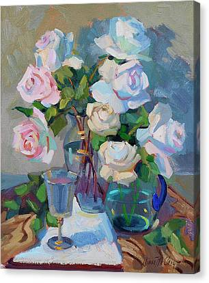 Wine And Roses Canvas Print by Diane McClary