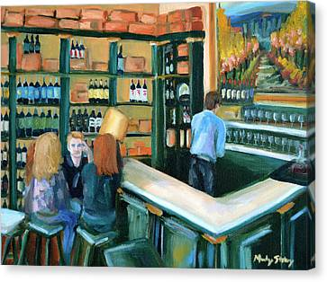 Wine Bar Rendezvous Canvas Print by Mandy Stohry