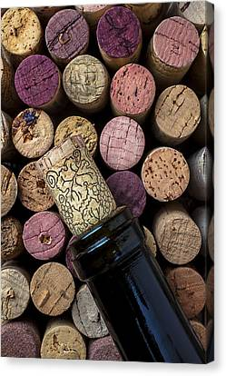 Wine Bottle With Corks Canvas Print by Garry Gay