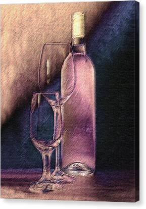 Wine Bottle With Glasses Canvas Print by Tom Mc Nemar