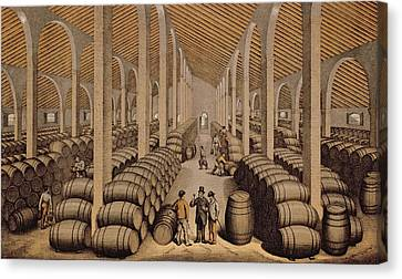 Wine Cellar At Jerez De La Frontera  Canvas Print by Spanish School