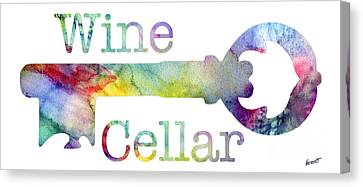 Wine Cellar Watercolor Canvas Print by Jon Neidert