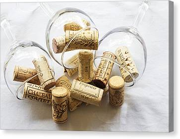 Wine Corks And Wine Glasses  Canvas Print by Georgia Fowler