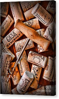 Wine Corks With Corkscrew Canvas Print by Paul Ward