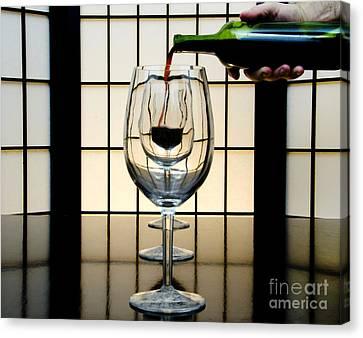 Wine For Three Canvas Print by John Debar