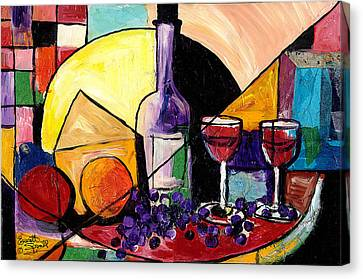 Wine Fruit And Cheese For Two Canvas Print by Everett Spruill