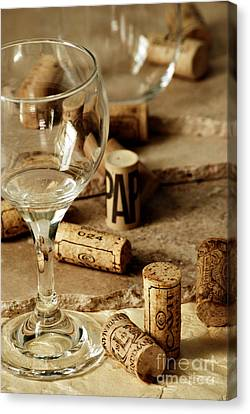 Wine Glass And Corks Canvas Print by HD Connelly