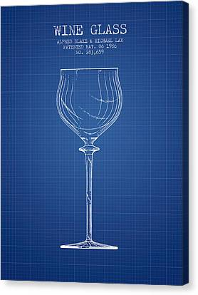 Wine Glass Patent From 1986 - Blueprint Canvas Print by Aged Pixel