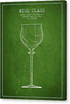 Wine Glass Patent From 1986 - Green Canvas Print by Aged Pixel