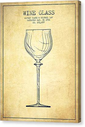 Wine Glass Patent From 1986 - Vintage Canvas Print by Aged Pixel