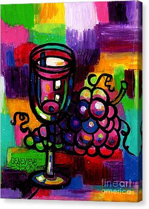 Wine Glass With Grapes Abstract Canvas Print by Genevieve Esson