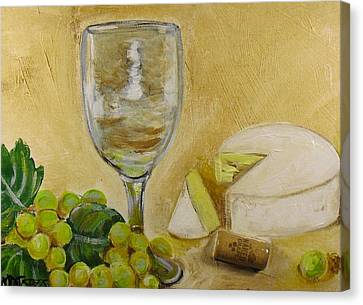 Wine Grapes And Cheese Canvas Print by Melissa Torres