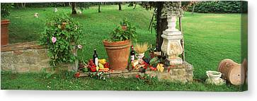 Wine Grapes And Foods Of Chianti Region Canvas Print by Panoramic Images
