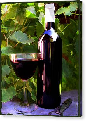 Wine In The Sunset Canvas Print by Elaine Plesser