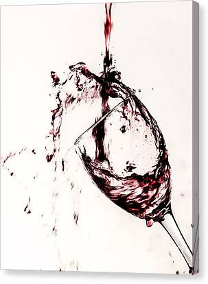 Wine Pour Splash In Color 2 Canvas Print by JC Kirk