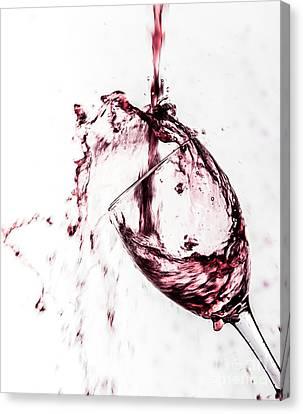 Wine Pour Splash In Color Canvas Print by JC Kirk