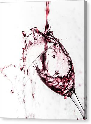 Wine Pour Splash In Color Canvas Print by JC Kirk
