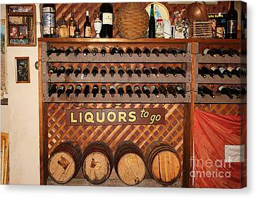 Wine Rack In The Cellar Room At The Swiss Hotel In Sonoma California 5d24451 Canvas Print by Wingsdomain Art and Photography