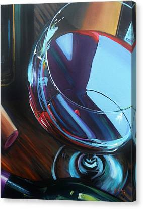 Wine Reflections Canvas Print by Donna Tuten