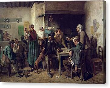 Wine Shop Monday, 1858 Oil On Canvas Canvas Print by Jules Breton