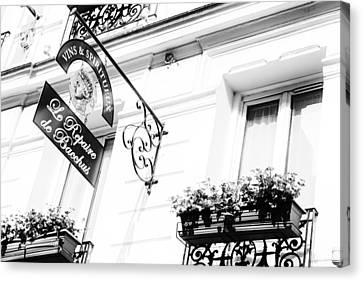 Wine Store Sign Black And White Canvas Print by Georgia Fowler