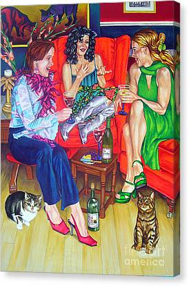 Wine Talk One Canvas Print by Louise Hallauer