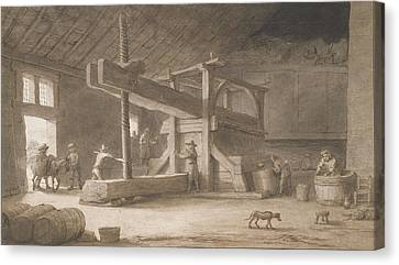 Winepress Of Monsieur Dittyl Canvas Print by Lambert Doomer