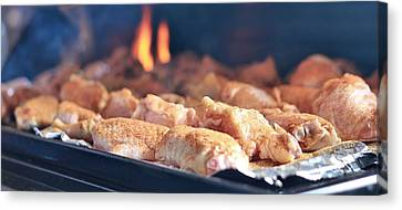 Wings On The Grill Canvas Print by Dan Sproul